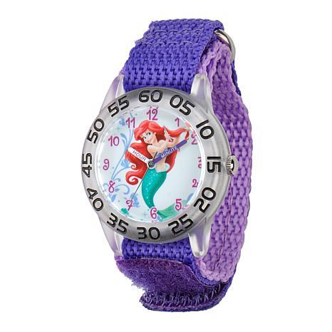 Disney Ariel Kid's Plastic Time Teacher Watch w/ Purple Nylon Strap