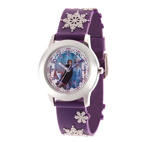 Disney Frozen 2 Characters Kids' Glitz Watch with Purple 3-D Strap