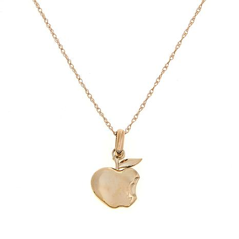 "Disney Kids 14K Yellow Gold Apple Pendant with 13"" Chain"