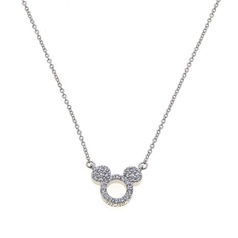 "Disney Kids CZ-Lined Mickey Mouse Cut-Out 18"" Sterling Silver Necklace"