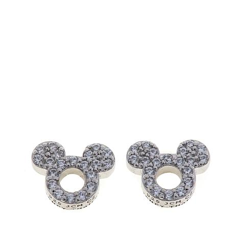 Disney Kids Cz Lined Mickey Mouse Cut Out Sterling Silver Stud Earrings