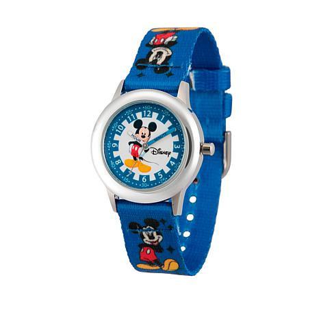Disney Mickey Mouse Kid's Time-Teacher Watch with Printed Blue Strap