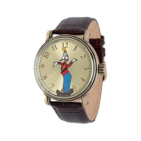 Disney Vintage-Style Goofy Brown Leather Strap Watch