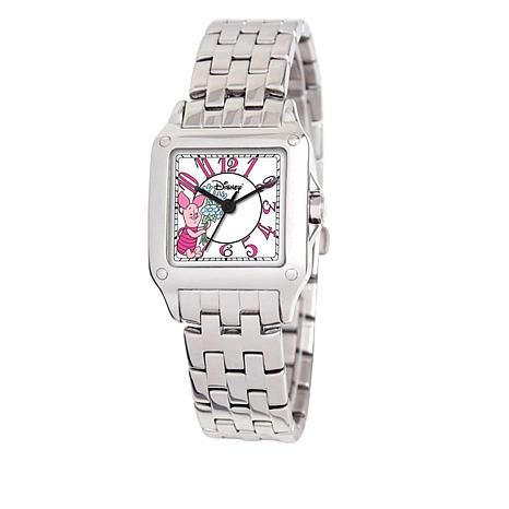 Disney Women's Piglet Silvertone Square Dial Bracelet Watch