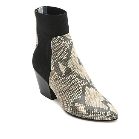 Dolce Vita Caris Knit Sock Snake-Embossed Leather Bootie