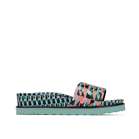 Donald J. Pliner Cava Leather Geo Jungle-Print Slide Sandal