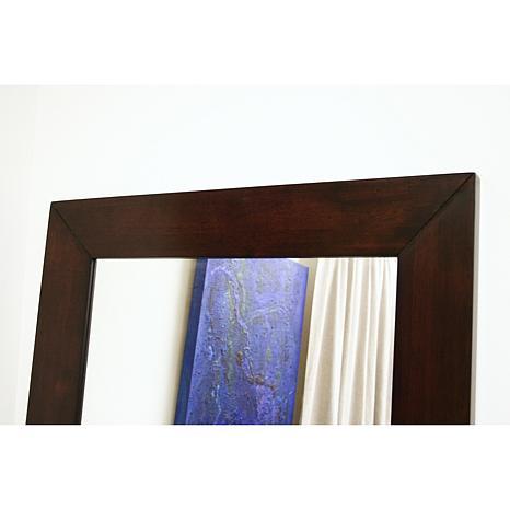Doniea Dark Brown Wood Frame Modern Mirror - Rectangle ...