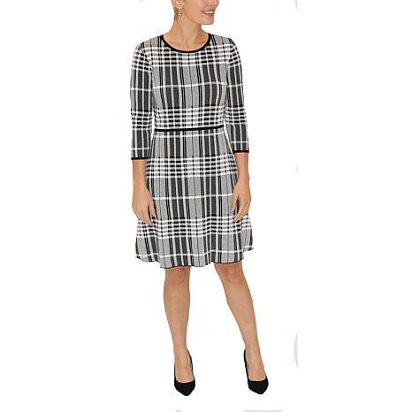 Donna Ricco 3/4 Sleeve Plaid A-Line Sweater Dress