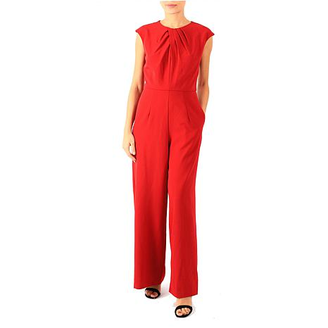 Donna Ricco Cap-Sleeve Jumpsuit with Pockets