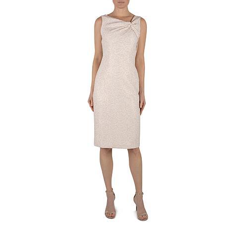 Donna Ricco Midi Sheath Dress in Stretch Brocade with Lurex