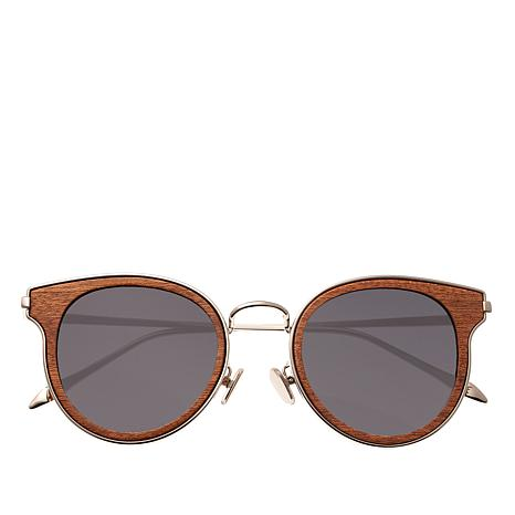 Earth Red Rose Wood Derawan Polarized Silvertone Sunglasses