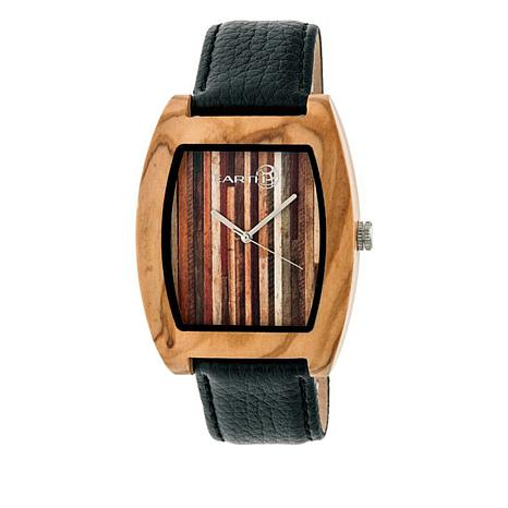 Earth Wood Cedar Khaki Wood Leather Strap Watch