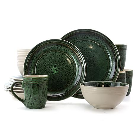 Elama Blue Jade 16 Piece Round Stoneware Dinnerware Set in Green