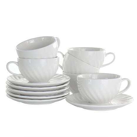 Elama Clancy 12 Piece Porcelain Cup and Saucer Set in White