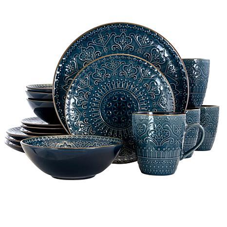 Elama Deepsea Mozaic 16 Piece Round Stoneware Dinnerware Set in Sea...