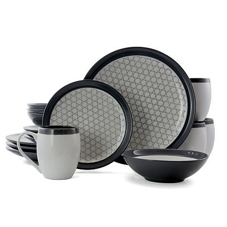 Elama Fine Lines 16 Piece Stoneware Round Dinnerware Set in Grey