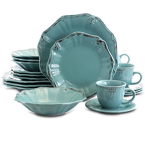 Elama Fleur De Lys 20-piece  Dinnerware Set - Turquoise