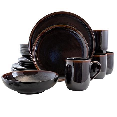 Elama Midnight Beach 16 Piece Round Stoneware Dinnerware Set in Met...