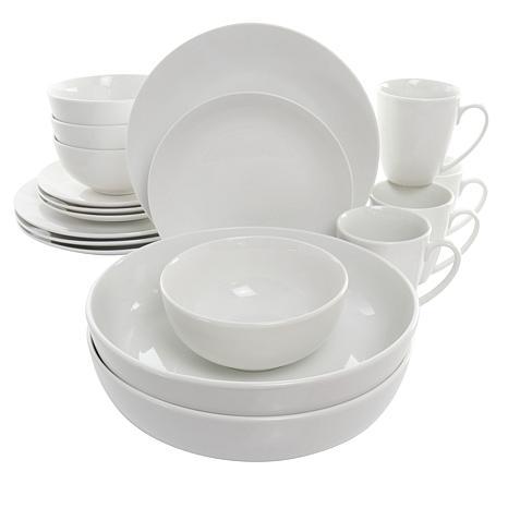 Elama Owen 18 Piece Porcelain Dinnerware Set with 2 Large Serving B...