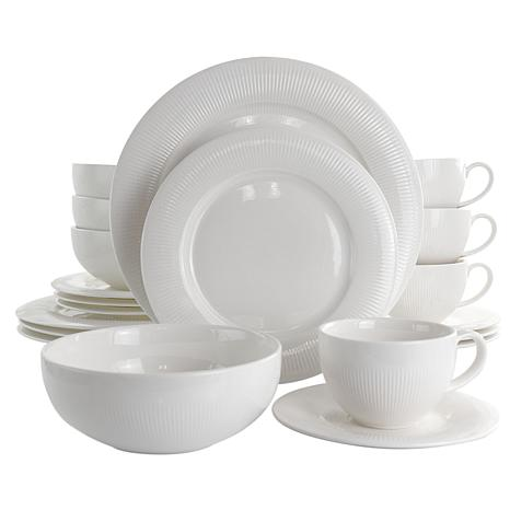 Elama Pallene 20 Piece Porcelain Cup and Saucer Set in White
