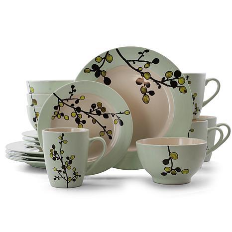 Elama Retro Bloom 16 Piece Round Stoneware Dinnerware Set in Green