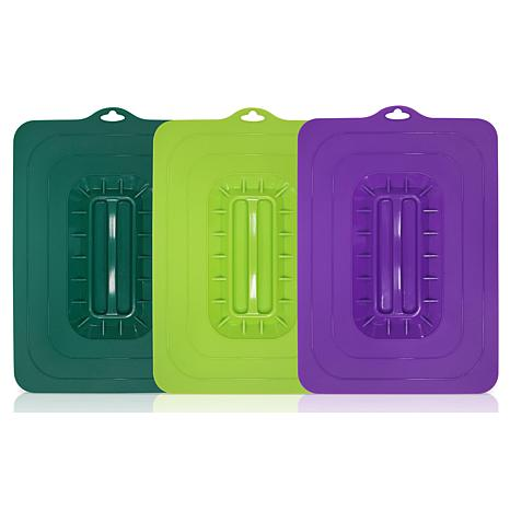 Elite Cuisine 3-piece Colored Rectangular Silicone Suction Lids