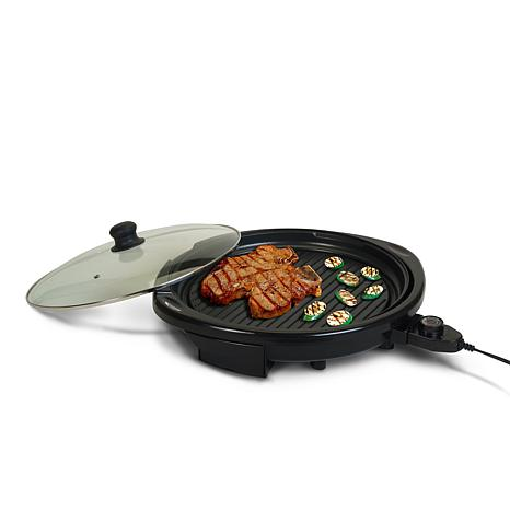 "Elite Gourmet 14"" Round Indoor Grill with Glass Lid"