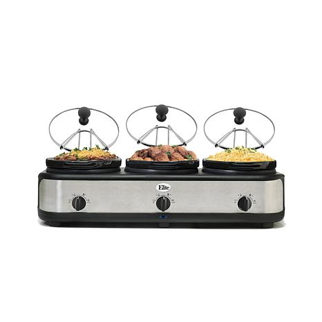 Elite Platinum 3 x 2.5qt. Stainless Steel Triple Slow Cooker with Lids