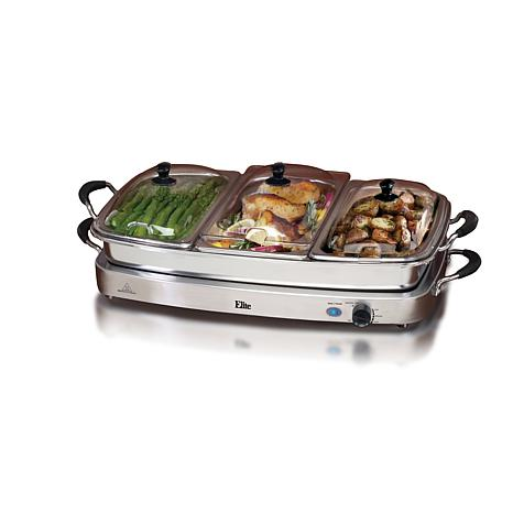 elite platinum set of 3 deluxe 2 5qt stainless steel electric rh hsn com elite buffet server and warming manual elite deluxe buffet server with warming tray