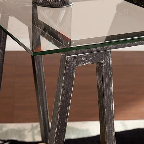 ... Ella Metal/Glass A Frame Desk   Distressed Black ...