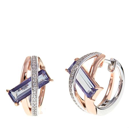 "ELLE ""Revolution"" 2-tone Purple Quartz and CZ Hoop Earrings"