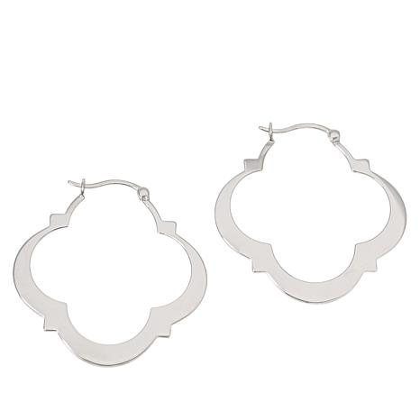 ELLE Sterling Silver Clover Hoop Earrings