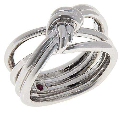 ELLE Sterling Silver Spellbound Knot Crossover Ring