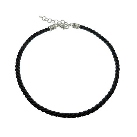 "Elyse Ryan 16"" Sterling Silver Black Cord Necklace"