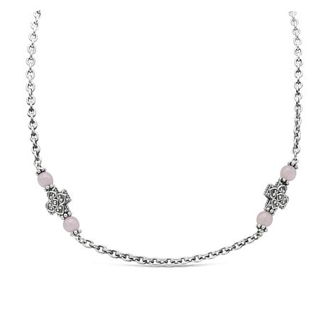 Elyse Ryan Sterling Silver Rose Quartz Cross Bead Necklace