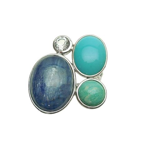 Elyse Ryan Sterling Silver Turquoise and Multi-Gemstone Ring