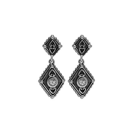 Elyse Ryan Sterling Silver White Topaz Drop Earrings