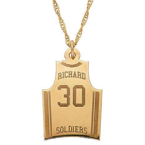 """Engraved Basketball Jersey Pendant with 20"""" Rope Chain"""