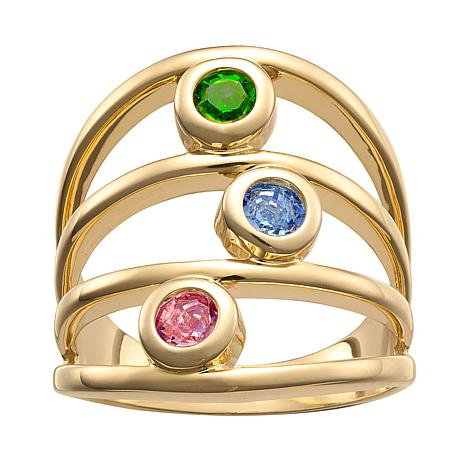 Family Crystal Birthstone Goldtone Negative-Space Ring - 3 Stones