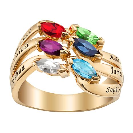 Family Name and Crystal Birthstone Ring