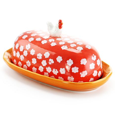 Farm Heart Figural Butter Dish in Red