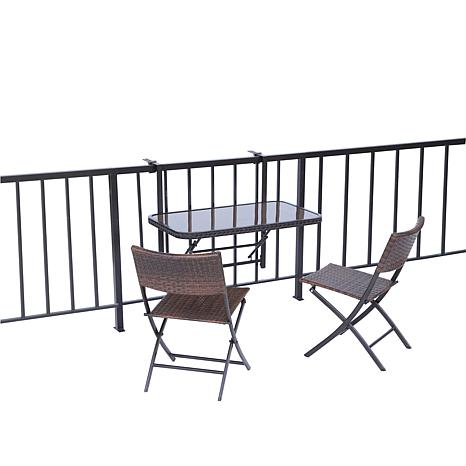 Folding Balcony/Deck Table with 2 Chairs - 1827238 | HSN