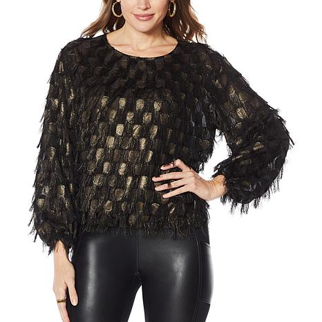 G by Giuliana Black Label Eyelash Feather Woven Top