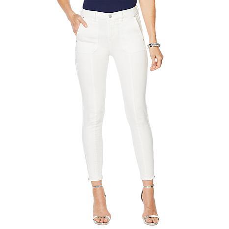G by Giuliana Downtown Denim Ankle-Zip Skinny Jean - White