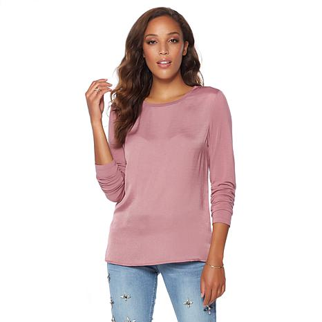 G by Giuliana Luxe Chic Satin and Knit Top