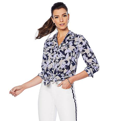 0ef44f1f G by Giuliana Printed Button-Down Blouse - 8850033 | HSN