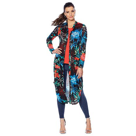 G by Giuliana Printed Slub Knit Duster Cardigan