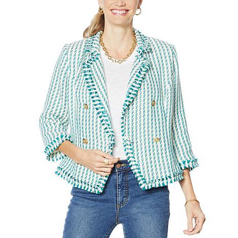 G by Giuliana Stripe Tweed Blazer