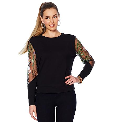 G by Giuliana Sweatshirt with Embroidered Mesh Sleeves