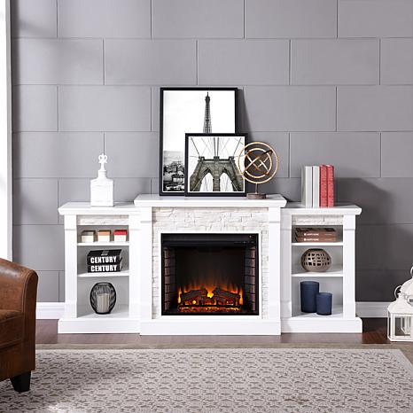 Gallatin Simulated Stone Electric Fireplace with Bookcases